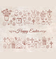 easter greeting card with easter doodles on vector image vector image
