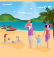 family rest in lagoon composition vector image vector image