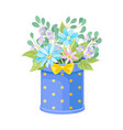 field and garden flowers in box vector image vector image