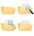 folder icons empty and full with magnifying vector image