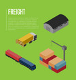 freight shipment isometric banner vector image vector image
