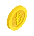 Gold coin with lira sign icon isometric 3d style vector image vector image