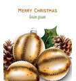 golden christmas balls decoration banner vector image vector image