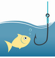 goldfish with fish hook fishing bait vector image vector image