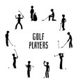 golf players and equipment silhouettes vector image vector image