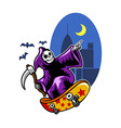 Grim Skating On Black City Night vector image vector image