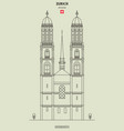 grossmunster church in zurich vector image vector image