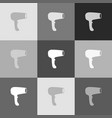 hair dryer sign grayscale version of vector image vector image