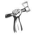 hand holding a hatchet tools icon cartoon hand vector image