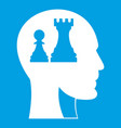 head with queen and pawn chess icon white vector image vector image