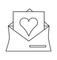 heart cartoon inside message envelope love icon vector image vector image