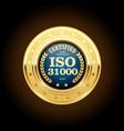 iso 31000 standard medal - risk management vector image vector image