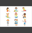 kids reading books icon set vector image