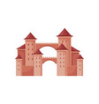 medieval fortress with towers and conical roofs vector image