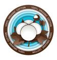 organic cotton round paper cut emblem vector image