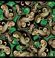 ornate gold and black vintage paisley seamless vector image