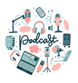podcast round shape concept sound recording vector image vector image