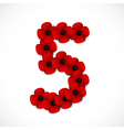 poppies number five vector image vector image