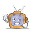proud tv character cartoon object vector image vector image