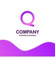 q company logo design with purple theme vector image vector image
