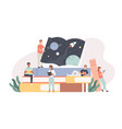 readers tiny young people sitting and lying on vector image vector image