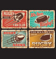 rugby rusty metal plates vintage cards vector image