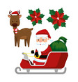 santa claus in the sled and deer to celebrate vector image vector image
