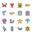 sea life icons set flat draw vector image vector image
