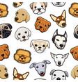 seamless dog head pattern vector image
