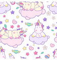 seamless pattern with unicorns cute kawaii vector image vector image