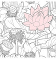 seamless pattern with white and pink lotus vector image