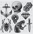 set black and white flash tattoo vector image vector image