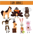 Set of Cute cartoon Animals and birds of the farm vector image