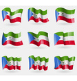 Set of Equatorial Guinea flags in the air vector image