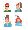set of female faces christmas portraits vector image vector image