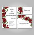 set of handpainted flower wedding invitation card vector image vector image
