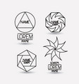 set of monochrome abstract circular symbols on vector image vector image