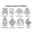 set with eight auspicious symbols buddhism vector image vector image