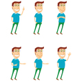 Standing man with various poses vector image vector image