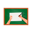 top view hands on the table writing vector image
