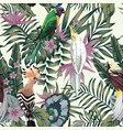 tropical birds plants leaves flowers abstract vector image vector image