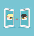 two business people contact each other via a vector image