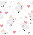 valentines day seamless pattern with cute birds vector image
