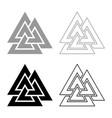 valknut sign symblol icon set grey black color vector image vector image