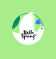 white bird with bluebell flower spring lettering vector image