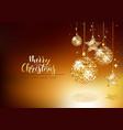 xmas greeting card with gold glitter ornaments vector image vector image