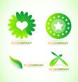 Bio eco logo icon set vector image