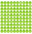 100 transport icons set green circle vector image vector image