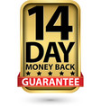 14 day money back guarantee golden sign vector image vector image
