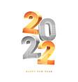 2022 happy new year calendar 3d text vector image
